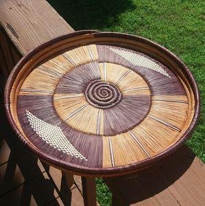 Round Woven Straw Boho Tray